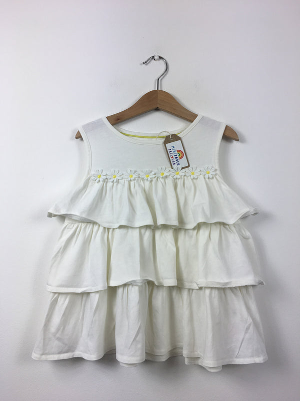 White Daisy Ruffle Vest (3-4 Years)