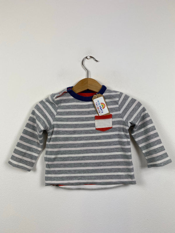 Red & White Stripy Reversible Top (3-6 Months)