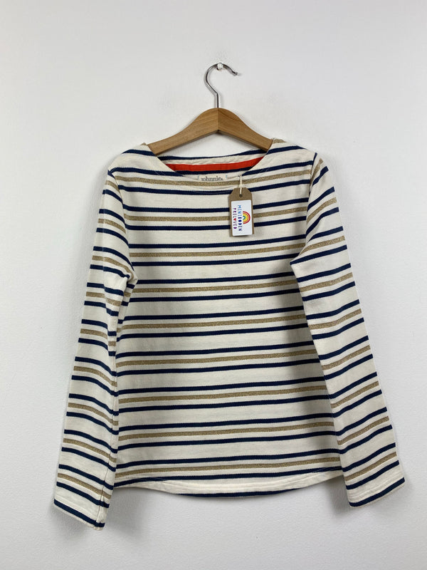 Navy & Gold Stripy Thick Breton Top (9-10 Years)
