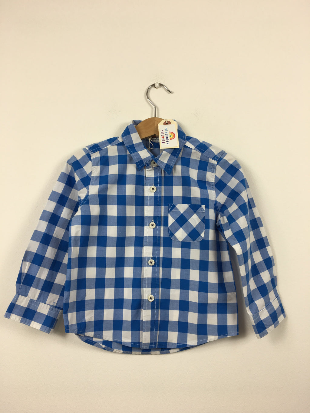Blue Long Sleeved Checked Shirt (2-3 Years)