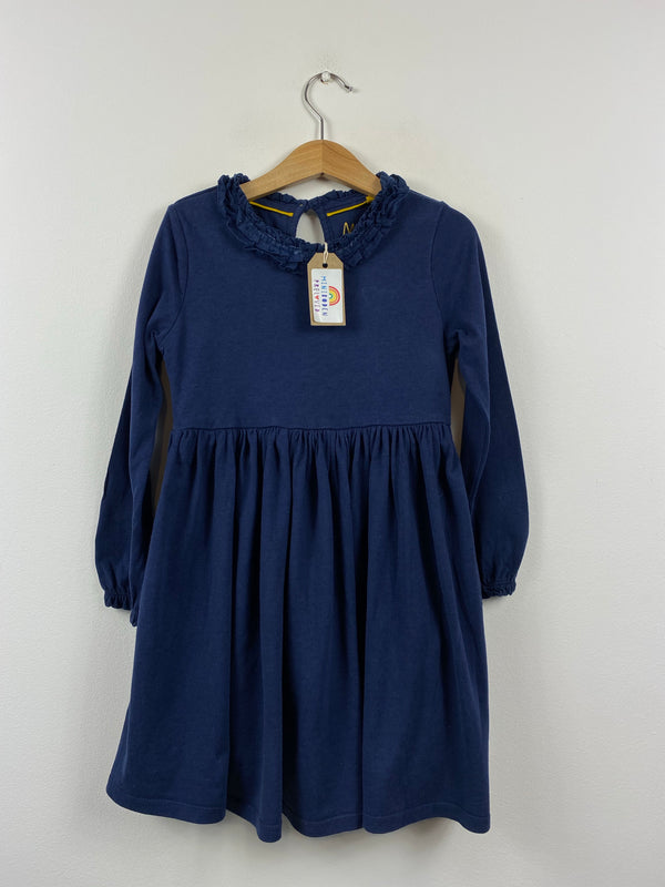 Gorgeous Navy Jersey Dress With Velvet Trim Ruffle Collar (5-6 Years)