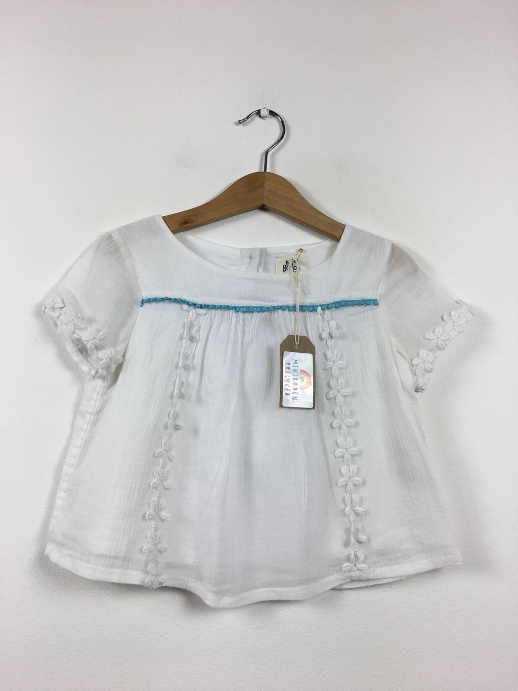 Short Sleeved Embroidered White Blouse (2-3 Years)