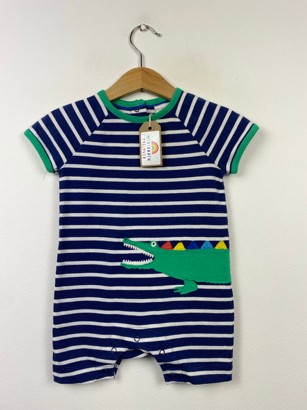 Applique Crocodile Stripy Romper (6-12 Months)
