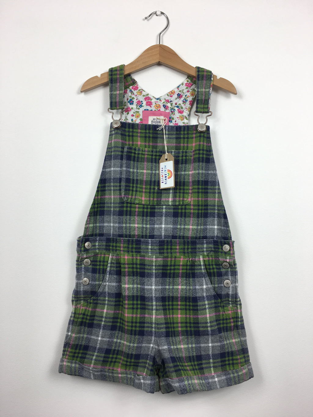 Brushed Cotton Checked Short Dungarees (9-10 Years)