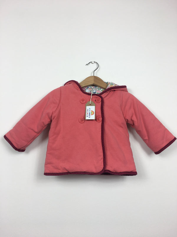 Floral Lined Coral Hooded Jacket (6-12 Months)