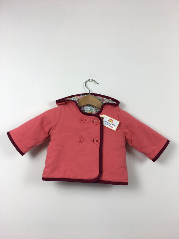 37aa6593 Floral Lined Coral Hooded Jacket (0-3 Months)