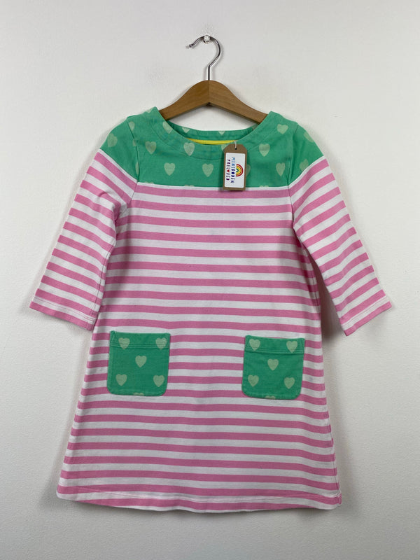 Pink & Green Heart Pocket Dress (5-6 Years)