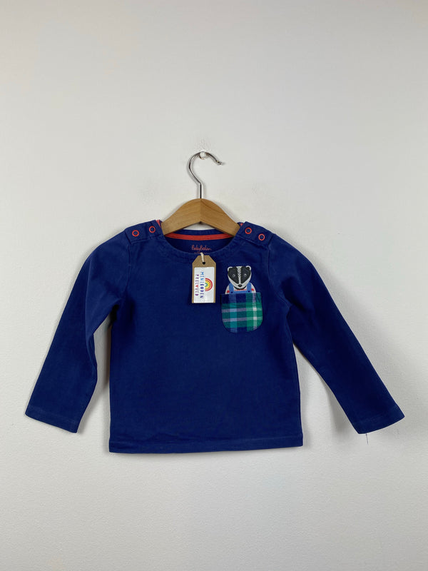 Navy Applique Pocket Badger Top (12-18 Months)