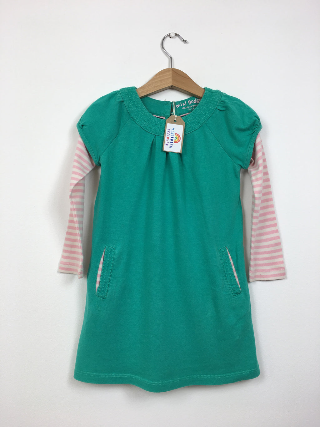 Green Dress With Stripy Sleeves (2-3 Years)