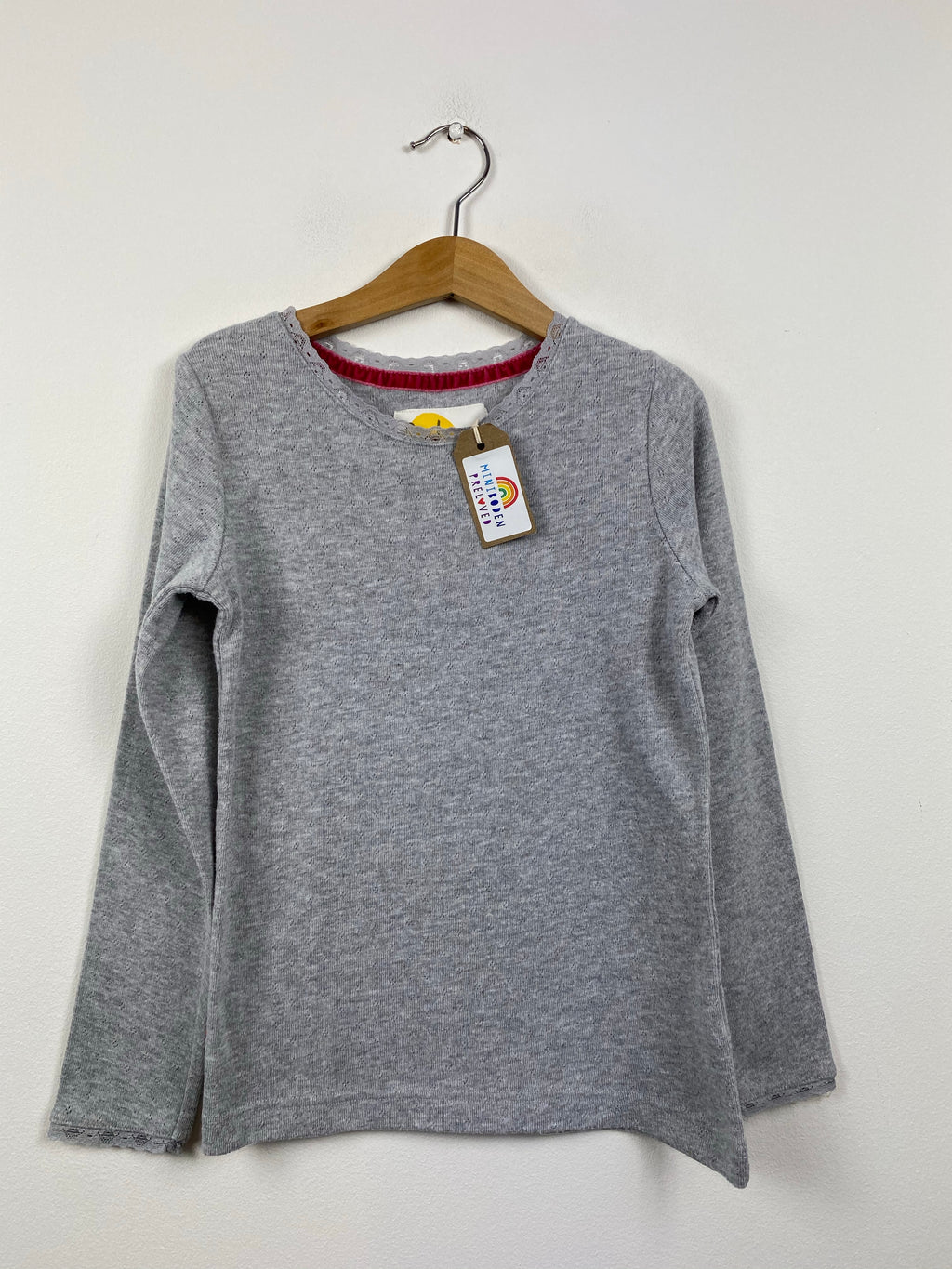 Super Soft Grey Pointelle Top (7-8 Years)