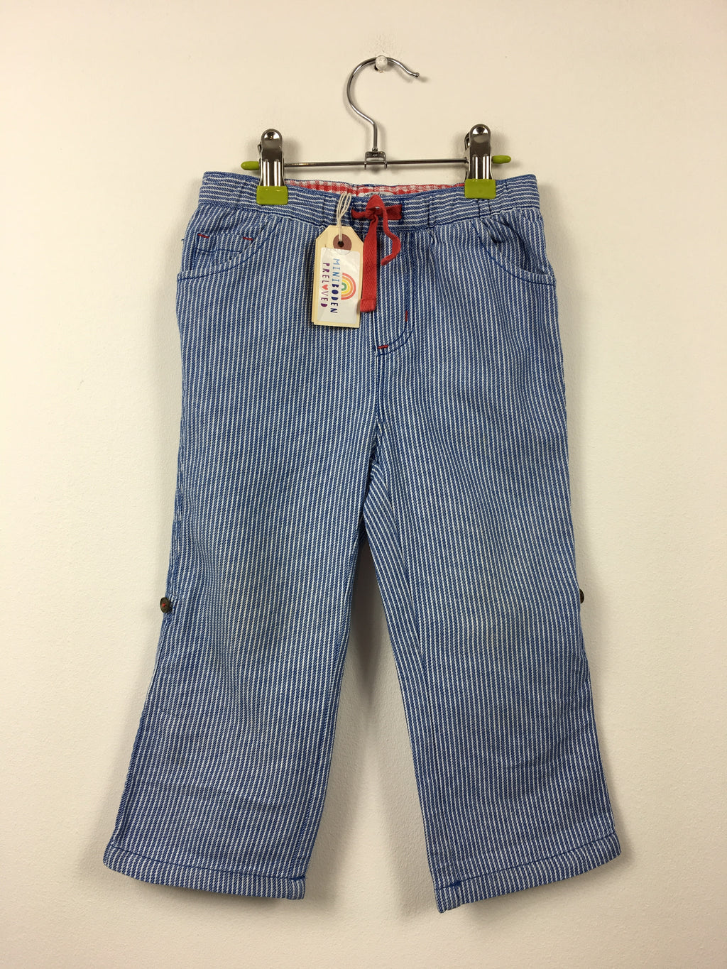 Blue Stripy Roll Up Summer Trousers (2-3 Years)
