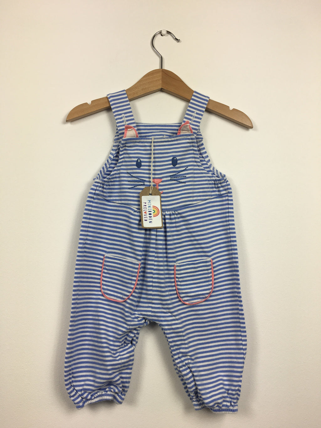 Sweet Stripy Cat Dungarees (3-6 Months)