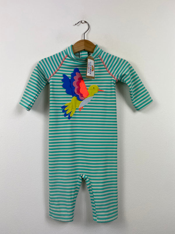Green Stripy Applique Bird UV Surf Suit (6-12 Months)