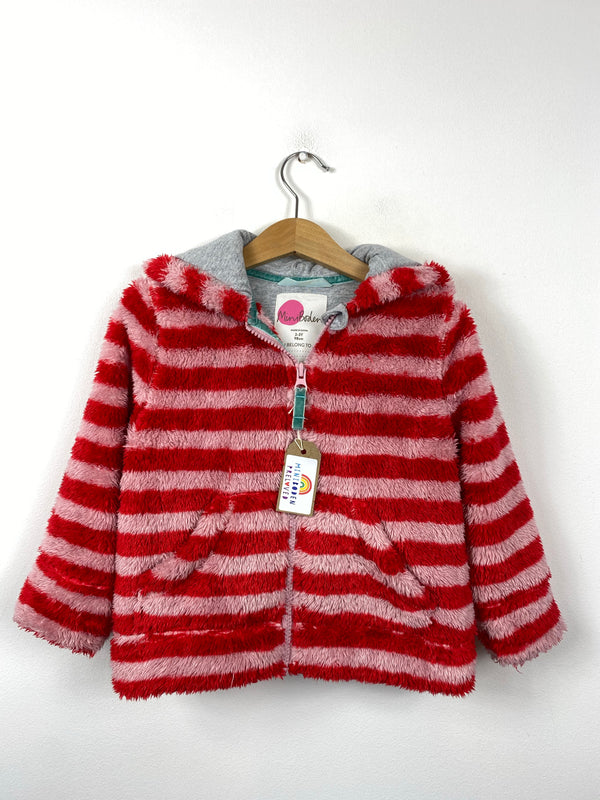 Hooded Red & Pink Stripy Fleece (2-3 Years)