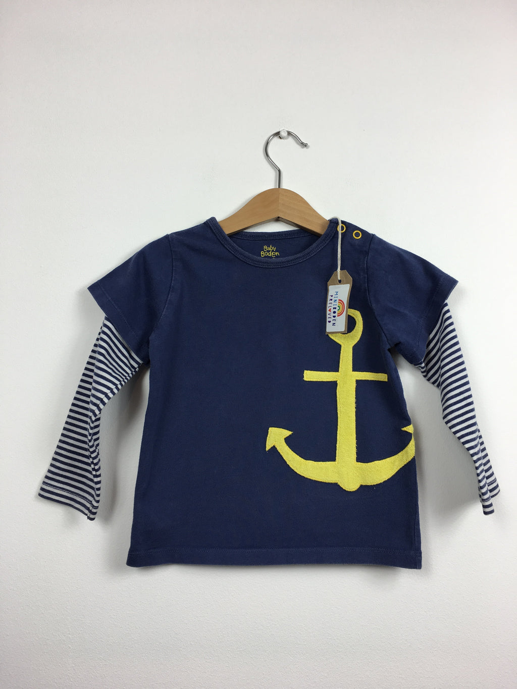 Blue Striped Felt Anchor Top (2-3 Years)