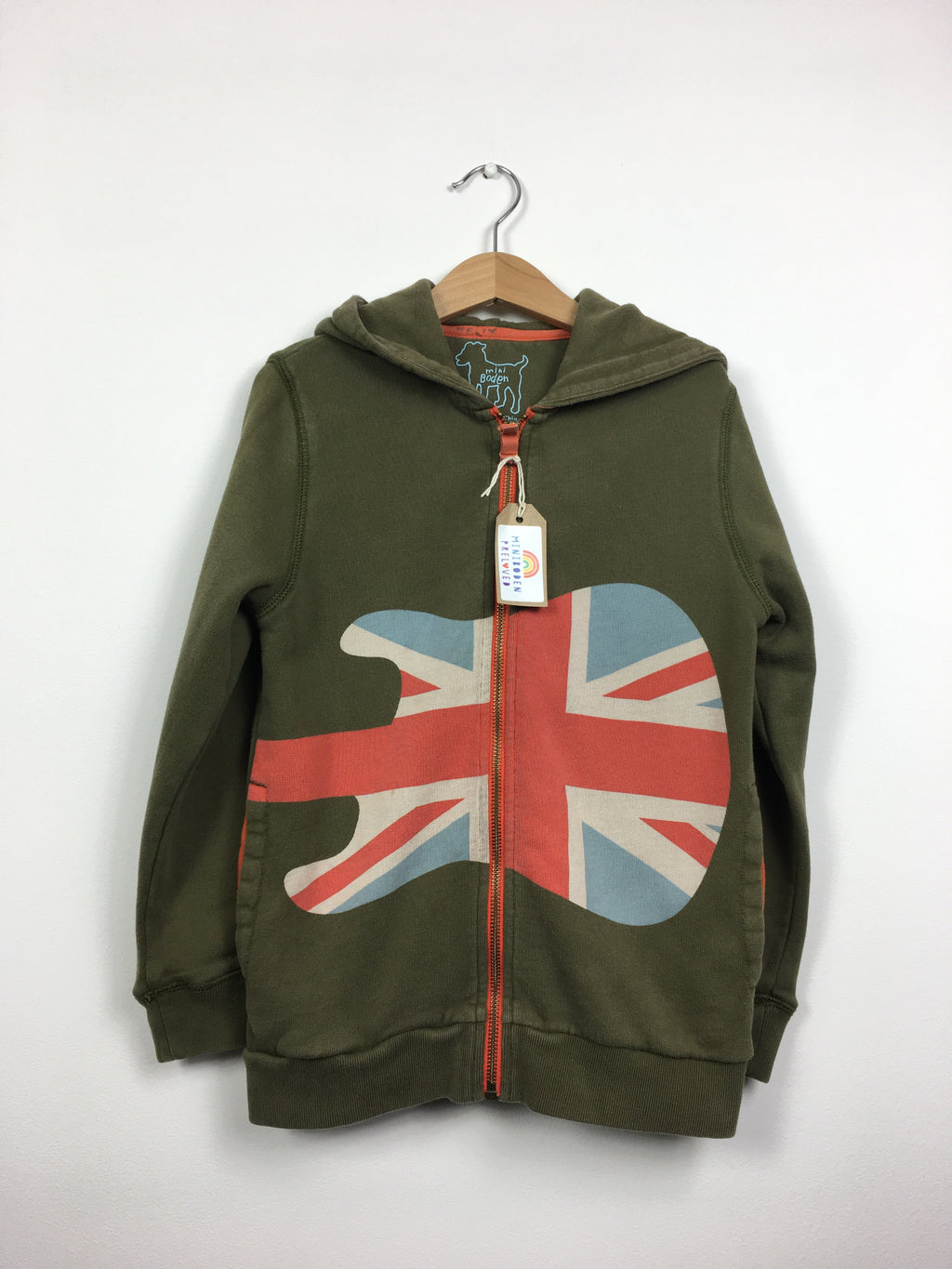 Khaki Hooded Guitar Print Hoody (6-7 Years)