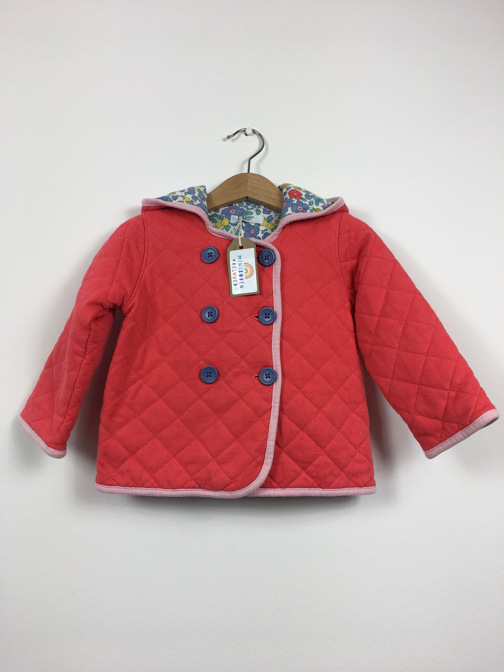 Coral Hooded Quilted Jacket With Liberty Lining Age 18-24 Months