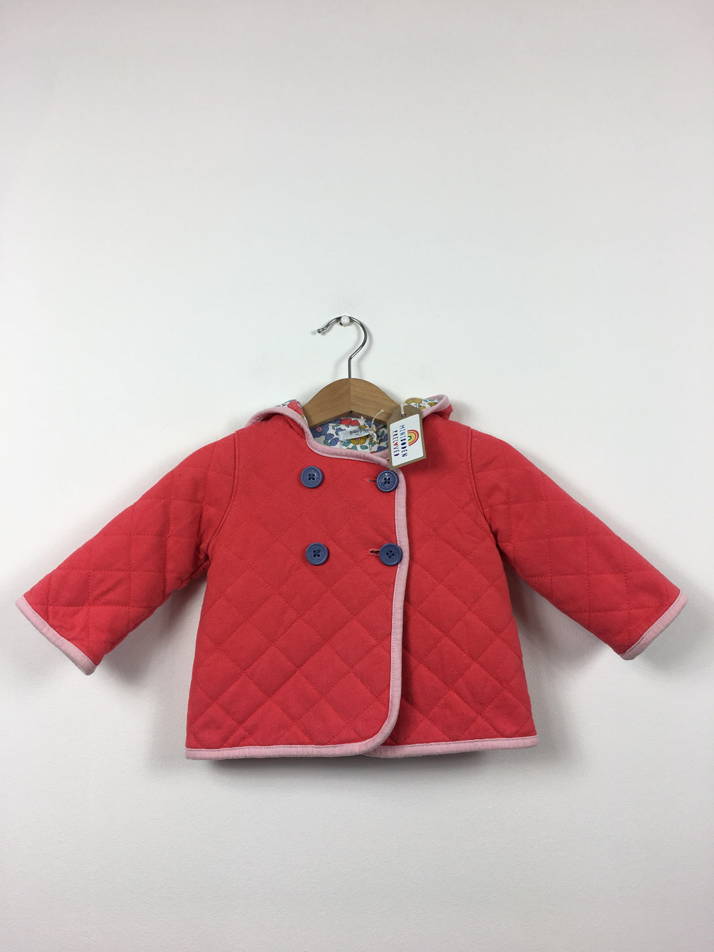Coral Hooded Quilted Jacket With Liberty Lining (6-12 Months)