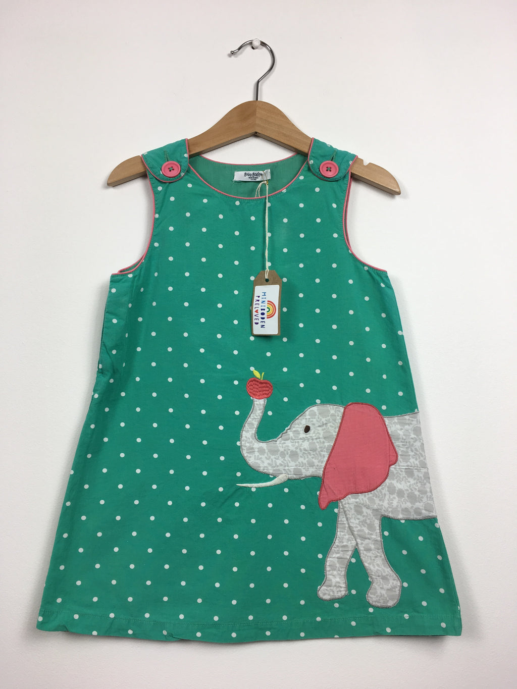 Green Appliqué Elephant Pinafore Dress (2-3 Years)