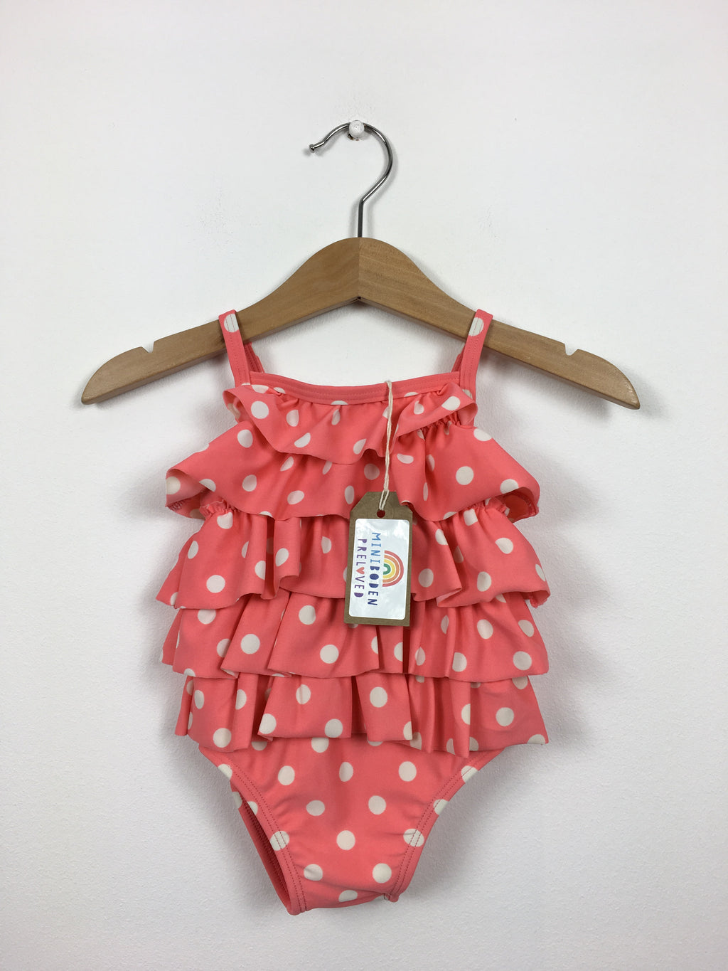 Spotty Coral Ruffle Swimsuit (3-6 Months)