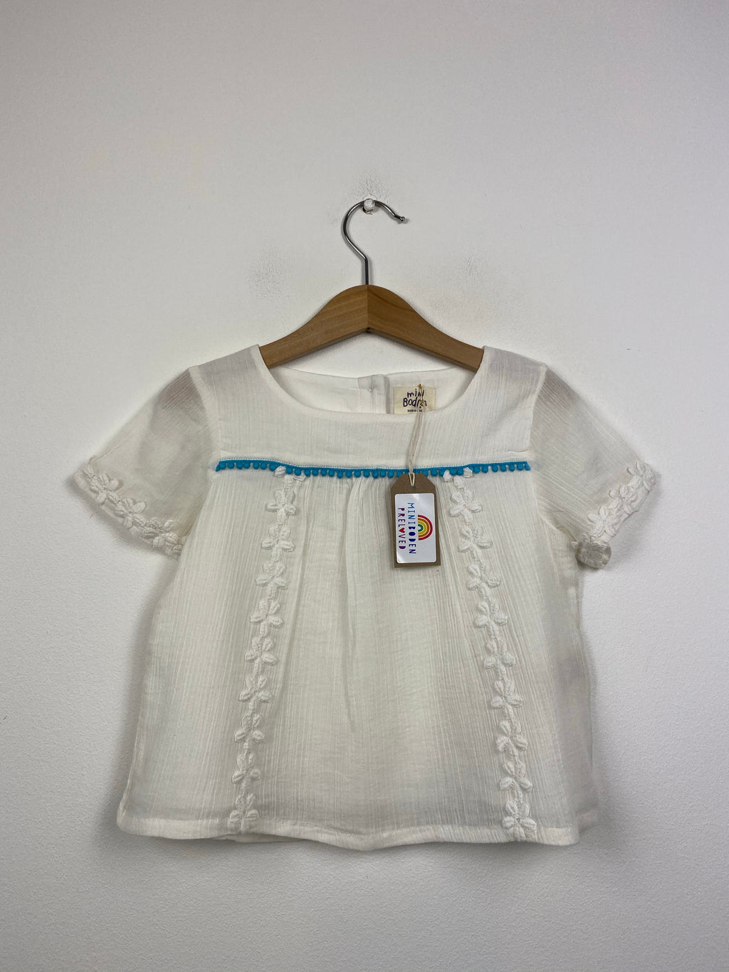 Short Sleeved Embroidered White Blouse (3-4 Years)