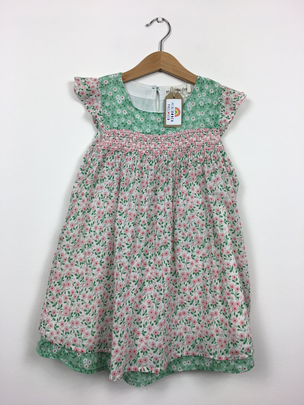 Pretty Pink & Green Floral Dress (4-5 Years)