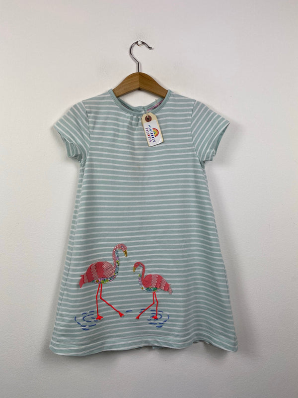 Applique Flamingo Pale Green Dress (2-3 Years)