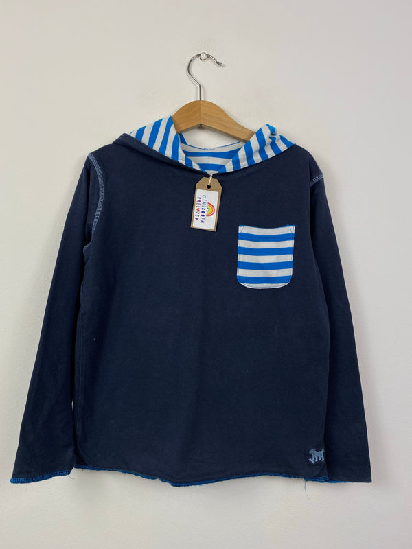 Hooded Navy/Blue Stripe Reversible Lightweight Top (6-7 Years)
