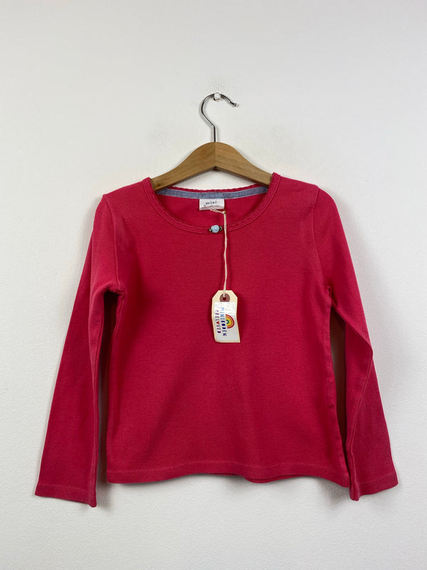 Long Sleeved Coral Rosebud Layering Top (4-5 Years)