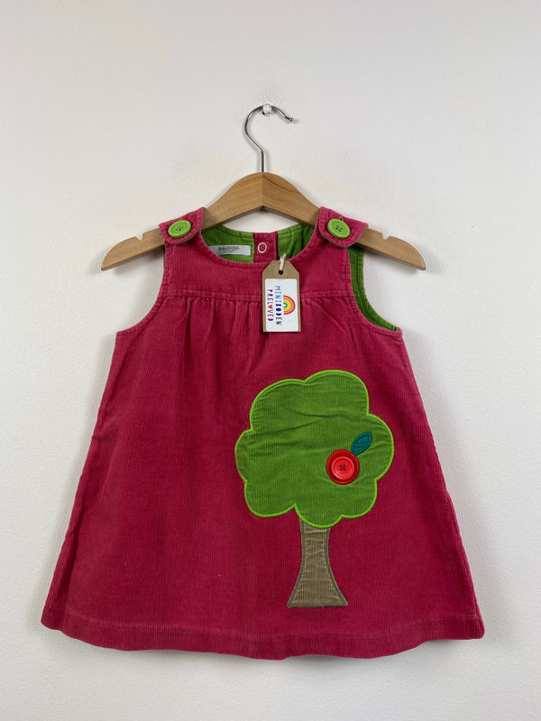 Adorable Applique Tree Cord Pinafore Dress (6-12 Months)