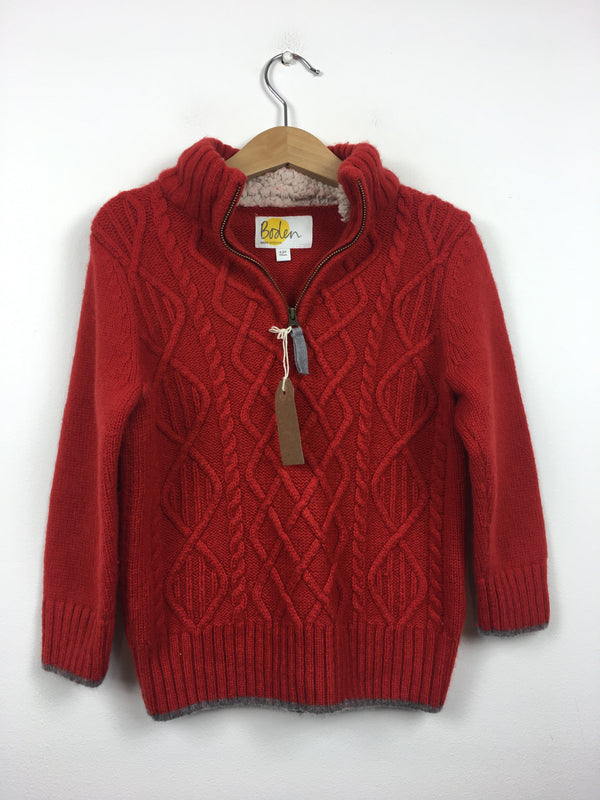Vibrant Red Knitted Half Zip Jumper (4-5 Years)