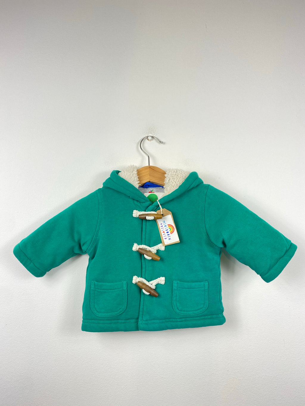 (As NEW) Green Hooded Duffle Jacket (0-3 Months)