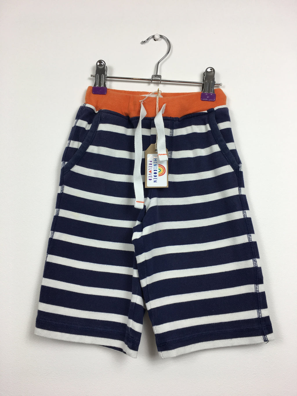 Navy & White Stripy Cotton Shorts (4 Years)