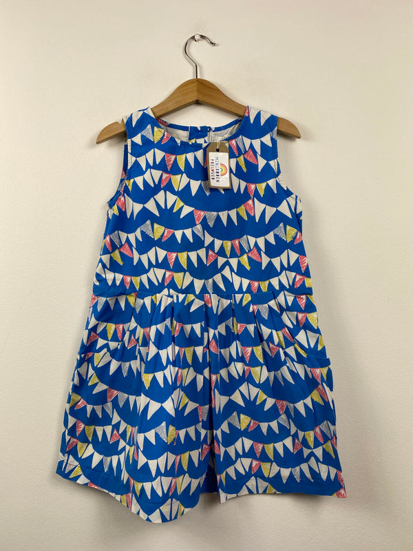 Vibrant Blue Bunting Patterned Dress (5-6 Years)
