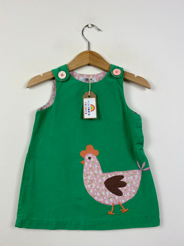 Green Appliqué Chicken Pinafore Dress (6-12 Months)