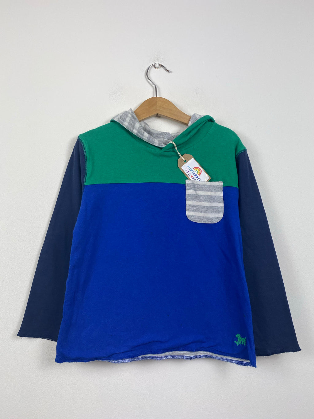 Hooded Blue and Green Lightweight Reversible Top (5-6 Years)