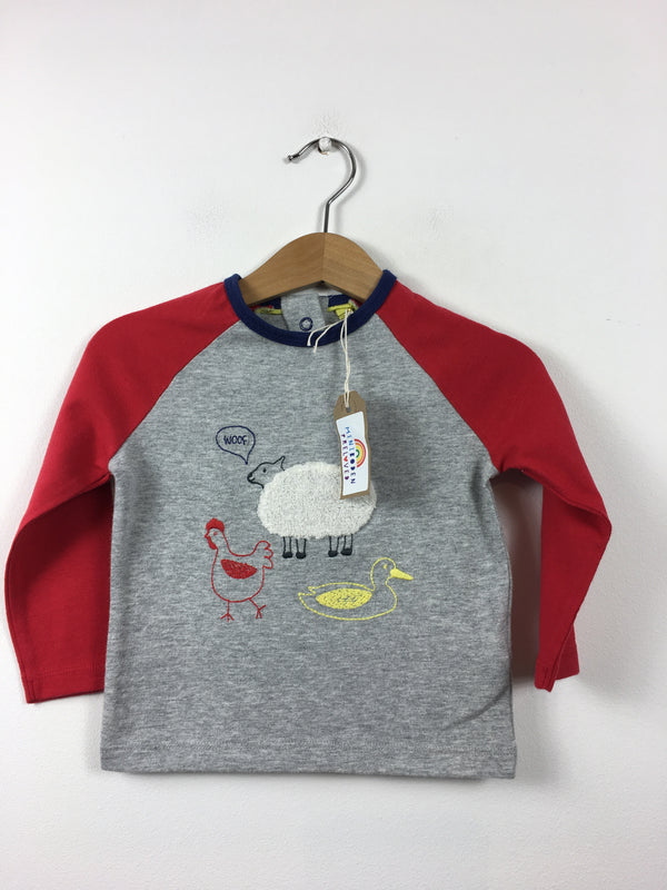 Appliqué Farm Animals Grey Top (6-12 Months)