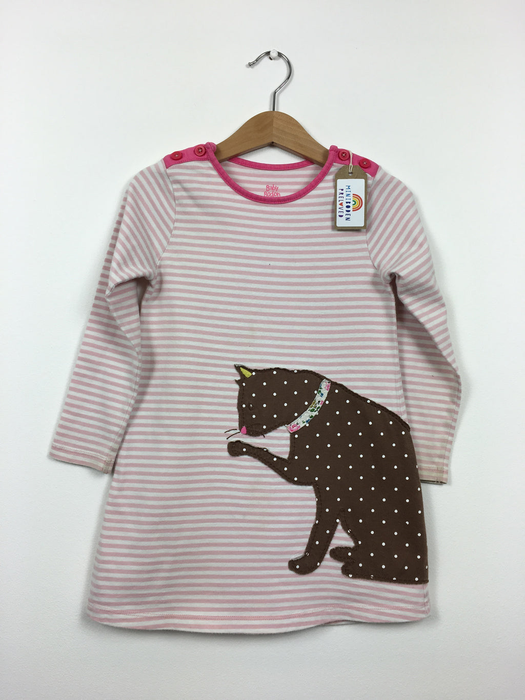 Stripy Appliqué Cat Dress (2-3 Years)