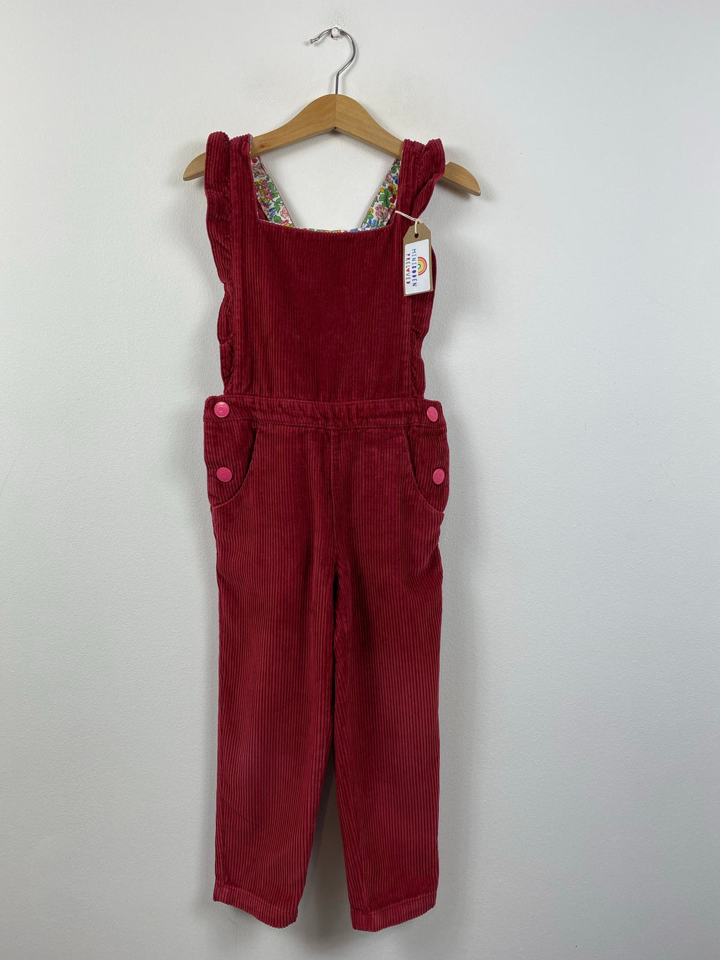 Soft Burgundy Cord Dungarees (3-4 Years)