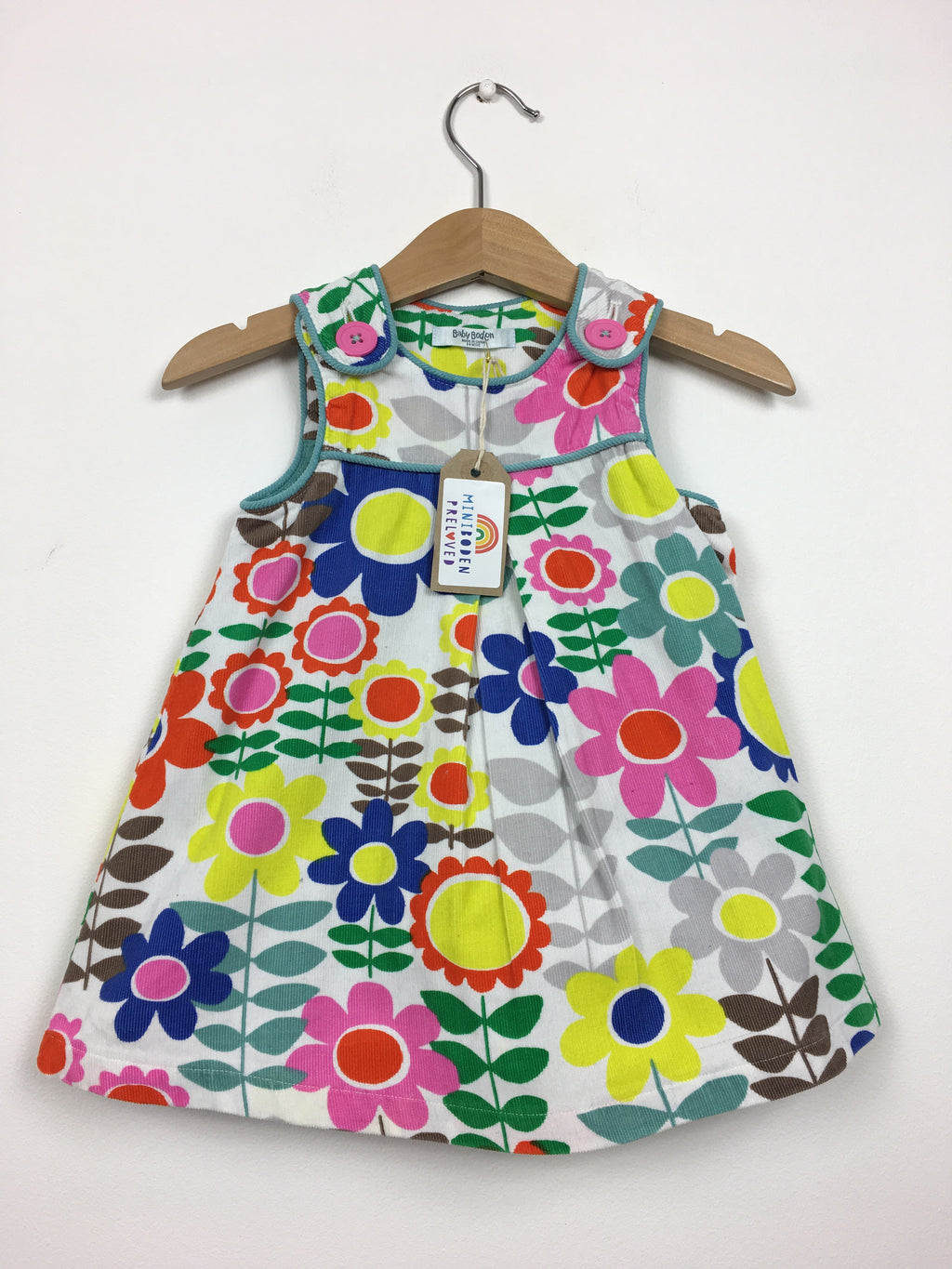 Vibrant Retro Print Cord Pinafore Dress (3-6 Months)