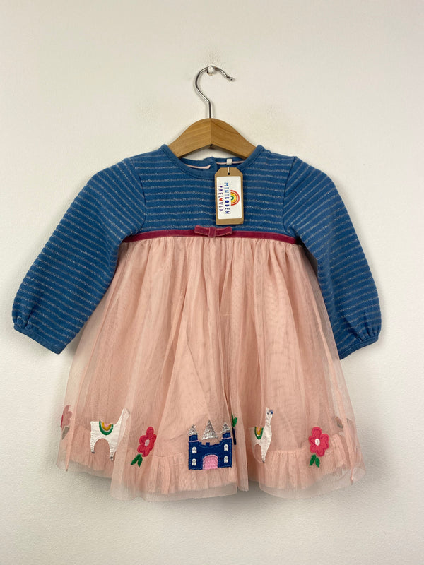 Adorable Pink & Blue Applique Fairytales Party Dress (3-6 Months)
