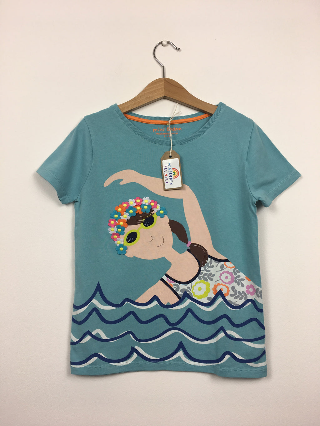 Blue Swimming Lady Print T-Shirt (6-7 Years)