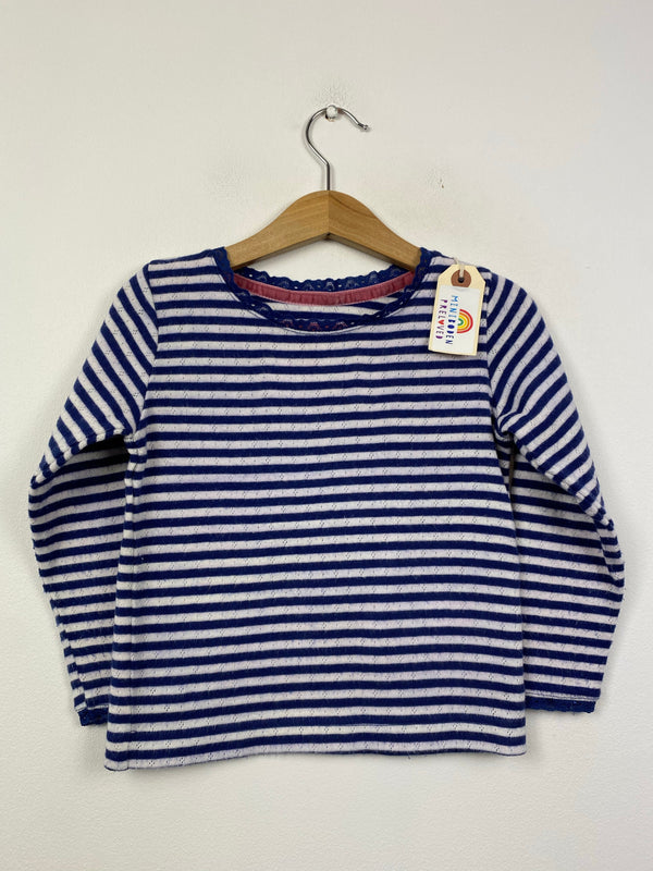 Navy & White Stripy Pointelle Top (3-4 Years)