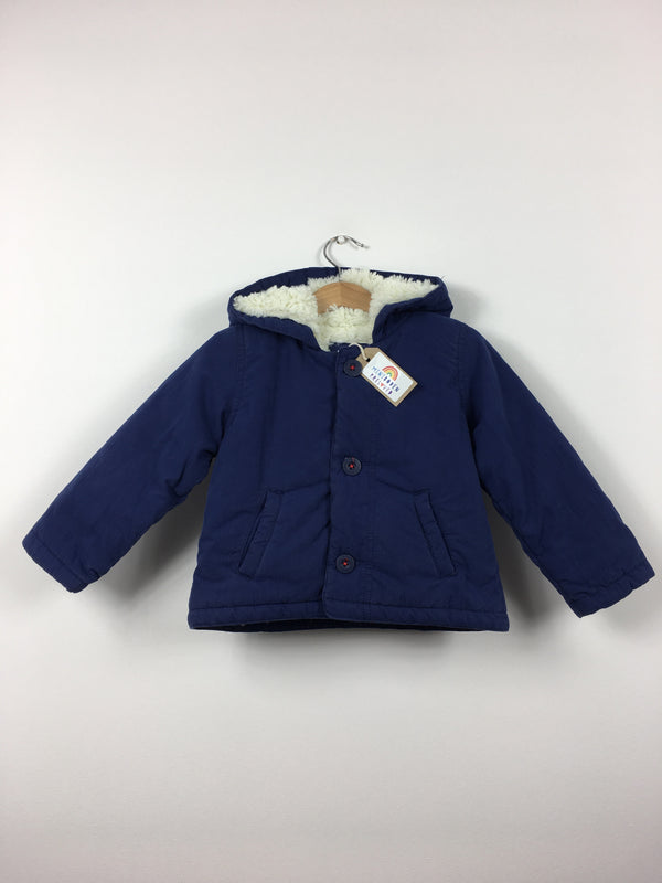 Navy Blue Fluffy Lined Jacket (6-12 Months)