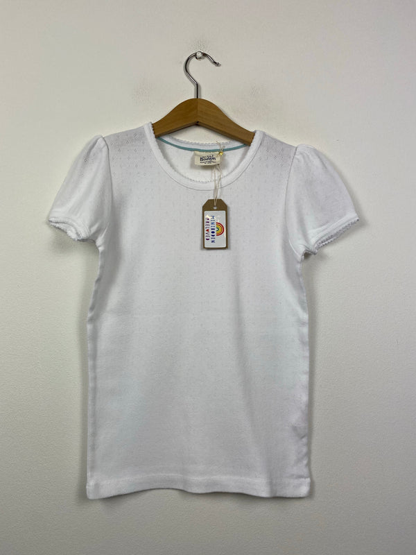 White Short Sleeved Pointelle (9-10 Years)