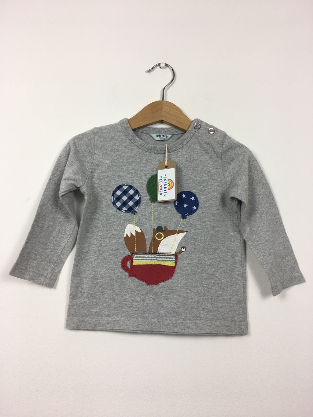 Appliqué Squirrel Grey Top (12-18 Months)