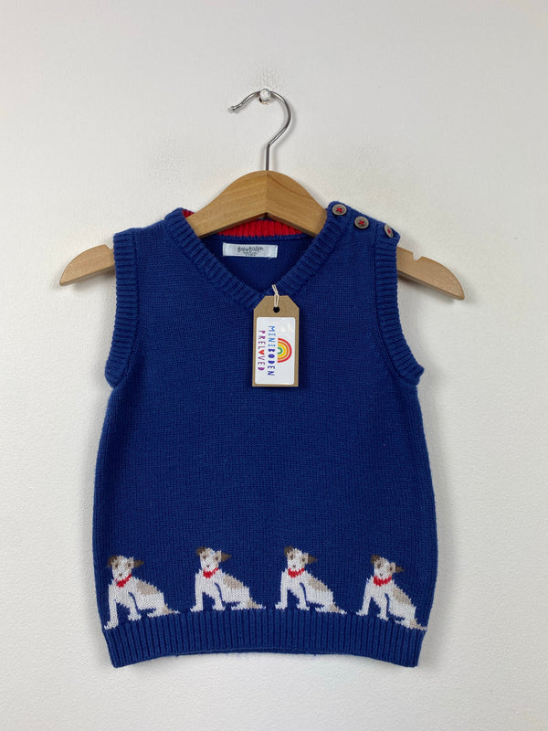 Dog Patterned Navy Knitted Tank Top (12-18 Months)