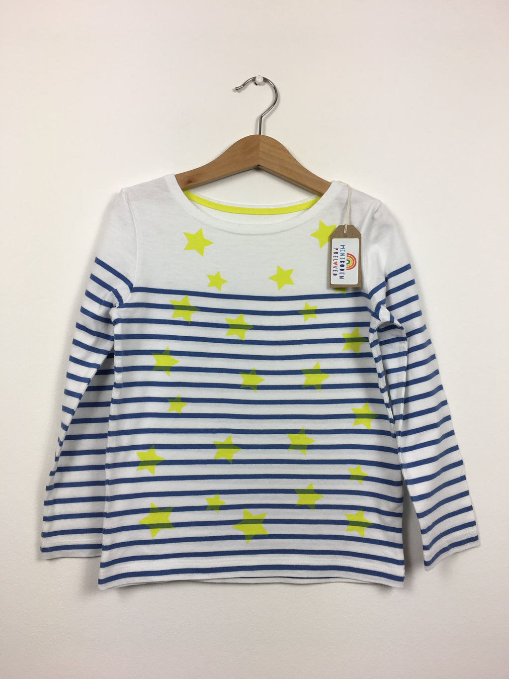 Blue & White Stripes/Star Print Boatneck Top (5-6 Years)