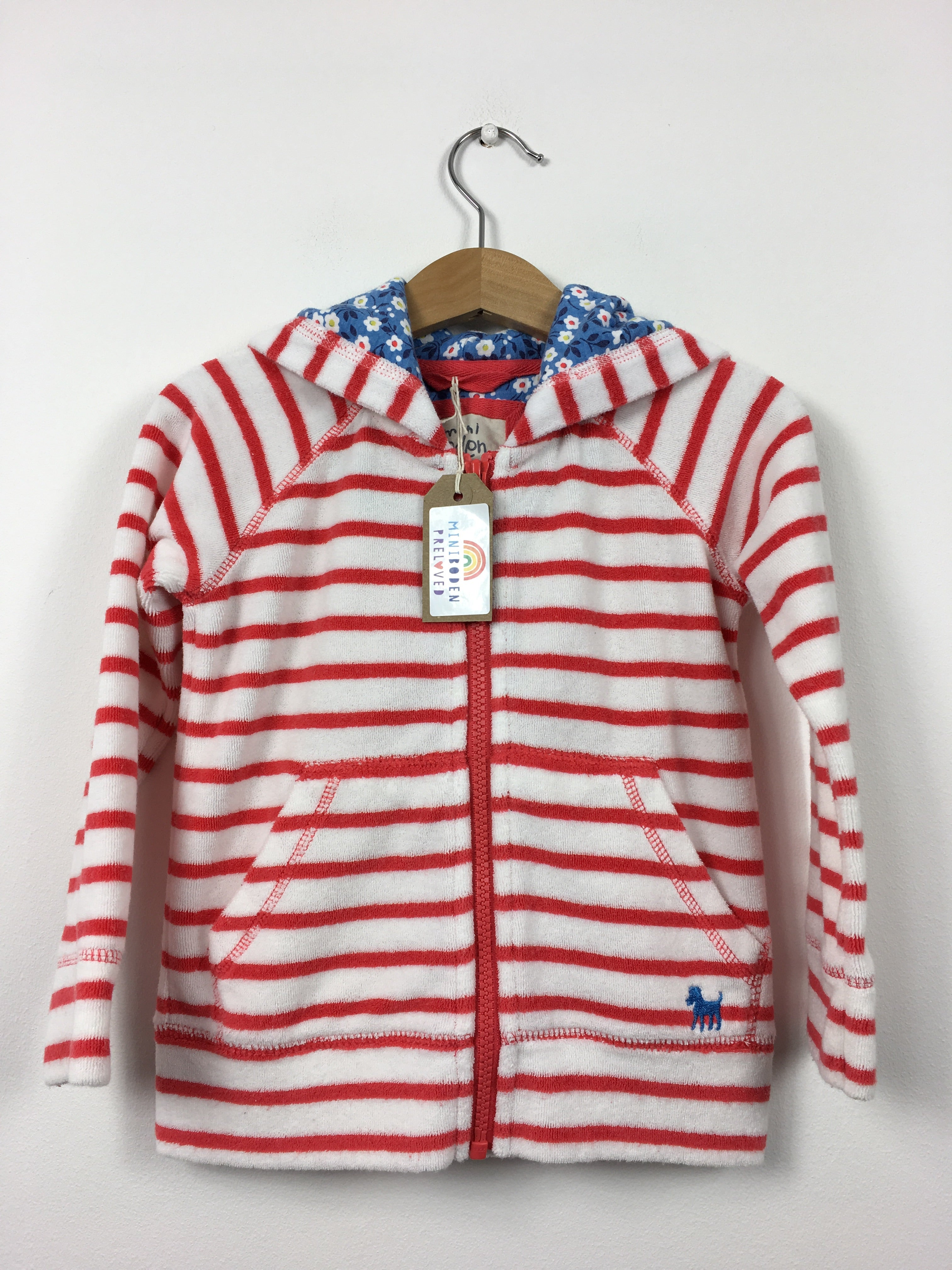 f743e7eecf Mini Boden Preloved | Red & White Stripy Towelling Zip Up (2-3 Years)