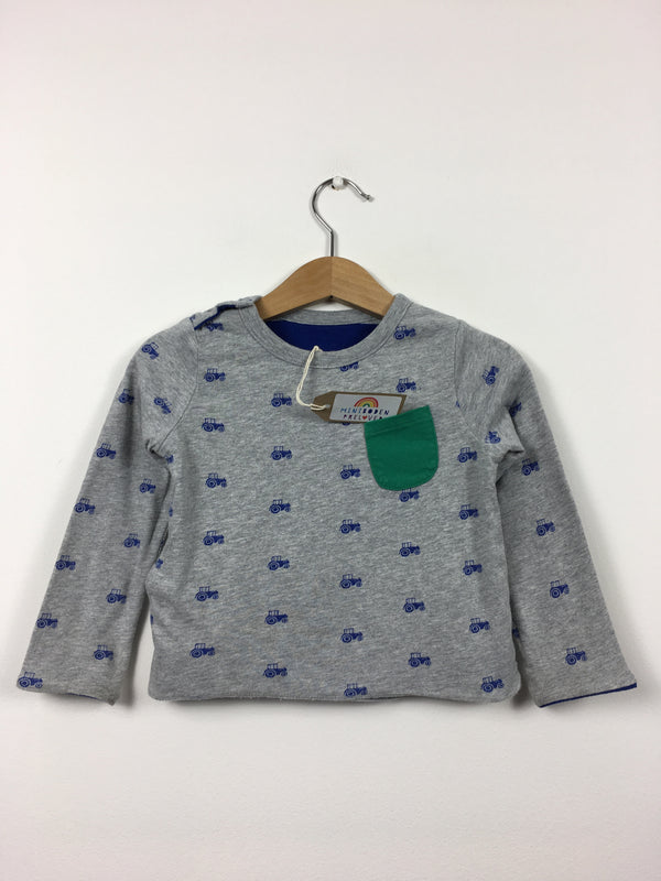 Grey Reversible Tractor/Stripes Print Top (6-12 Months)